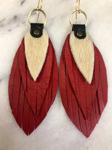 Red Leather & Cowhide Earrings
