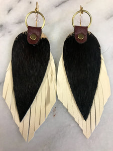 Black & White Cowide Leather Earrings