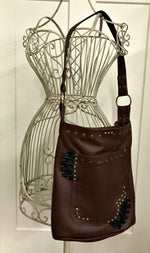 Brown w/ Black Ruffles Medium Shoulder Bag