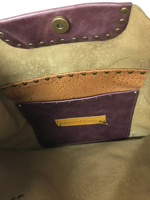 Textured Leather w/ Burgundy Leather Large Shoulder Bag