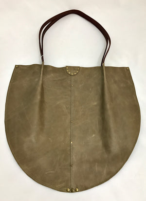 Distressed Taupe Leather Large Shoulder Bag