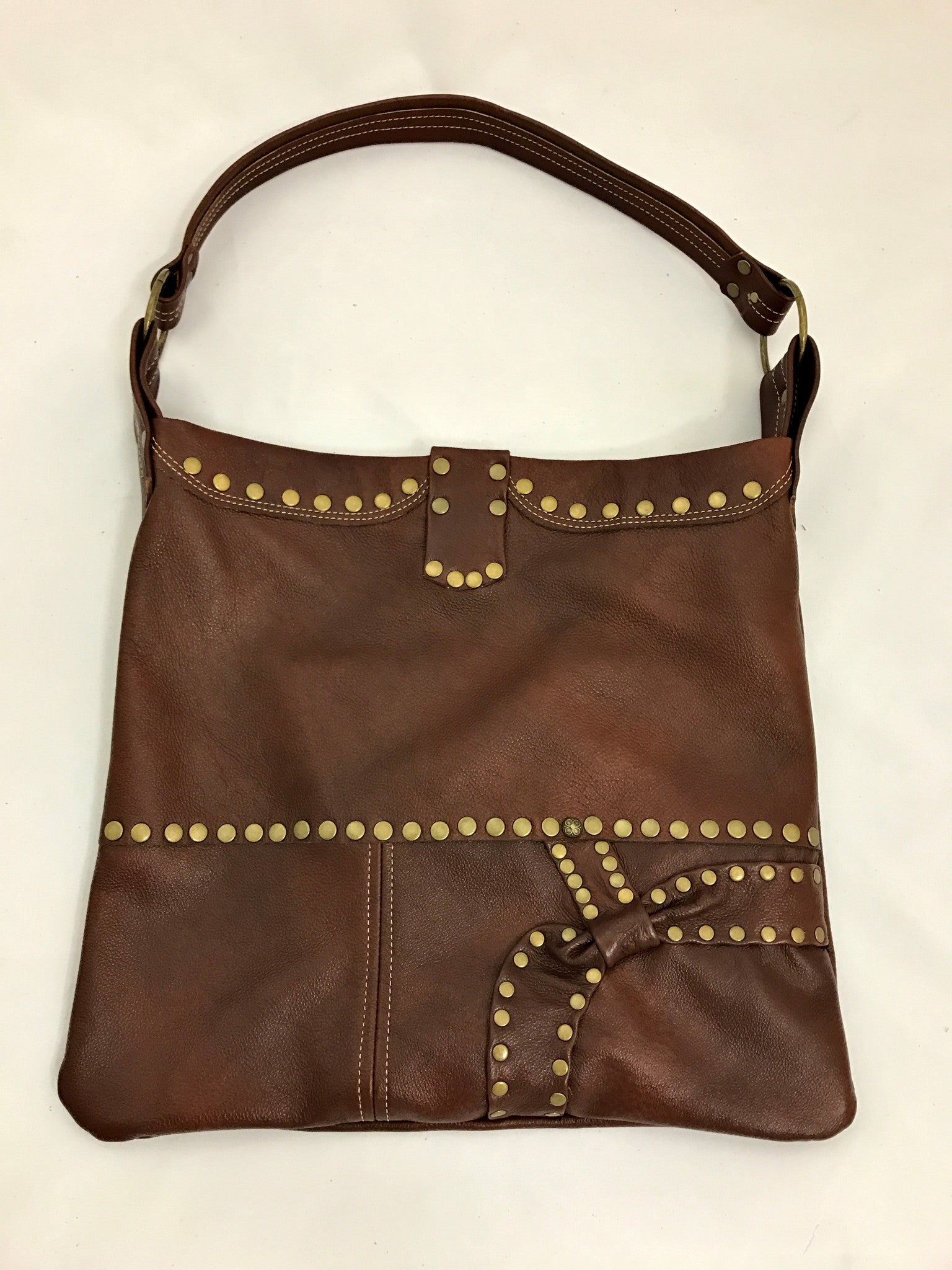Brown Bow Medium Shoulder Bag