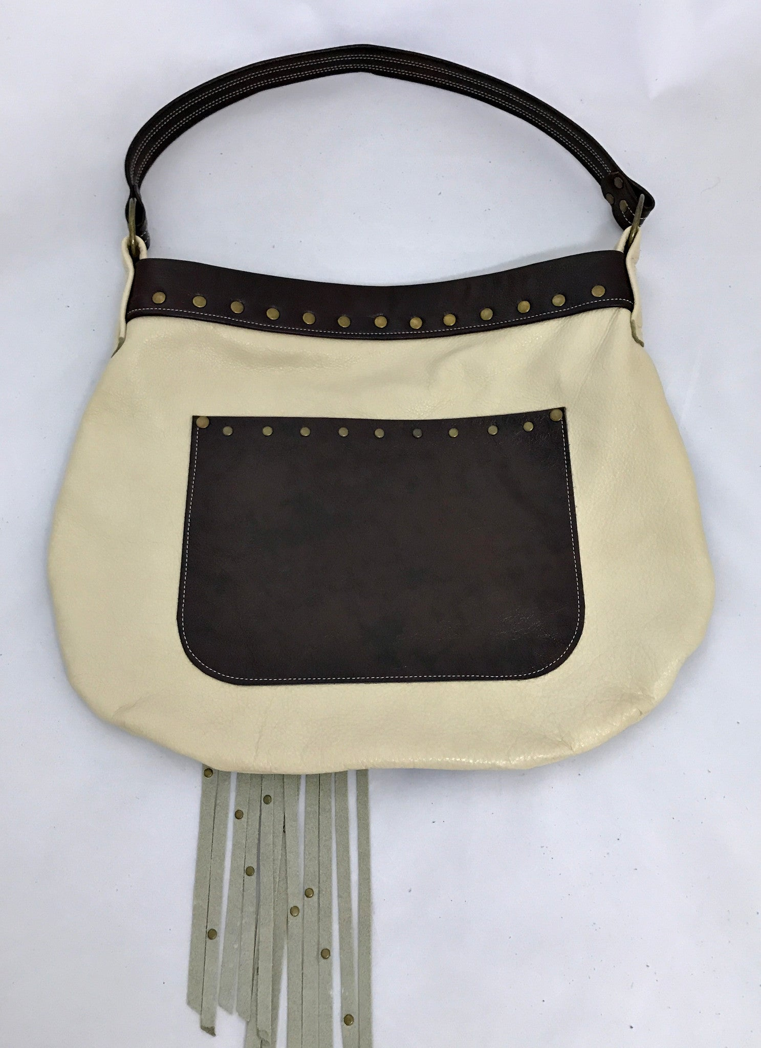 Off-White/Brown w/Fringe Medium Shoulder Bag