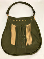 Green / Tan w/ Fringe Large Shoulder Bag
