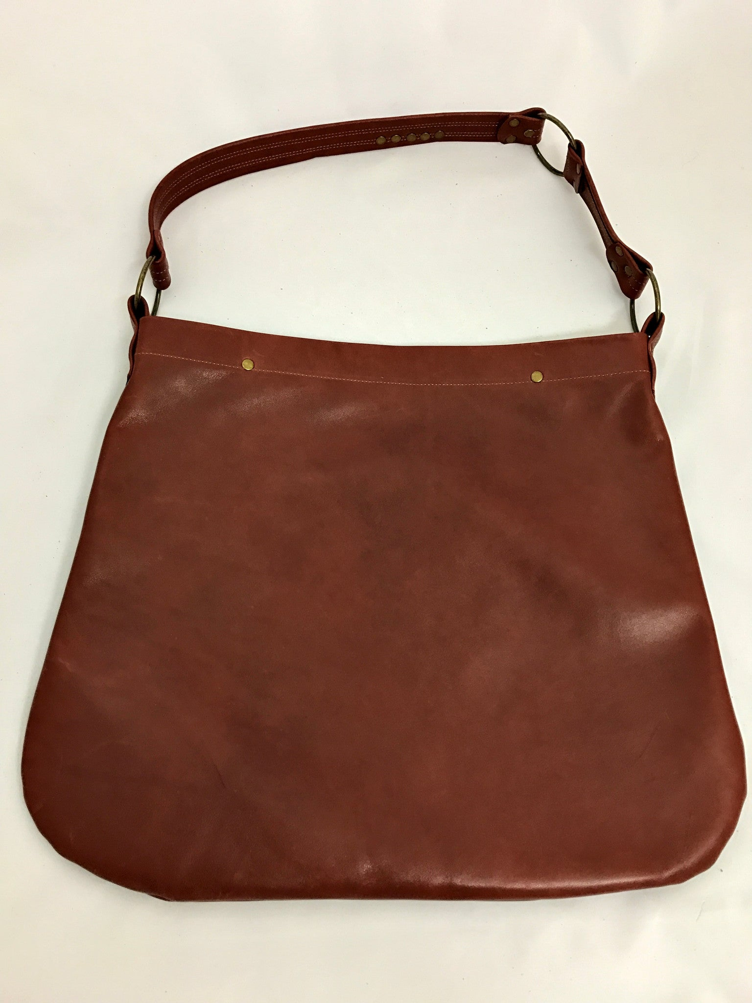 Cognac Brown w/ Flower Large Shoulder Bag