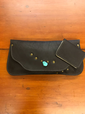 Chocolate Brown Clutch w/ Turquoise Embellishment