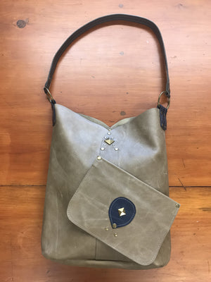 Distressed Tan Leather Tote Bag