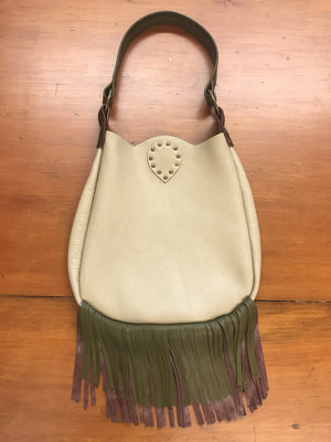 Light Tan Leather Scallop Top w/ Fringe Small Shoulder Bag