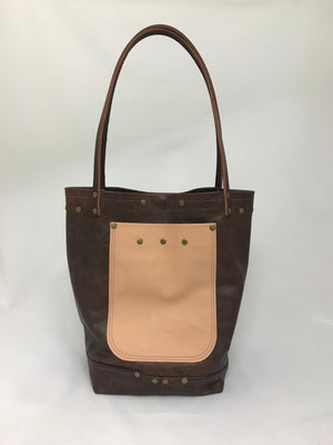 Mottled Brown w/ Pink Leather Tote Bag