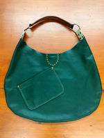 Hunter Green Leather flat Hobo Style Large Shoulder Bag