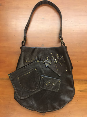Rich Brown Leather w/ petals Medium Shoulder Bag