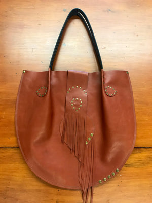 Cognac Leather w/ Fringe Large Shoulder Bag