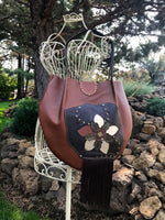 Leather Flower & Fringe Large Shoulder Bag