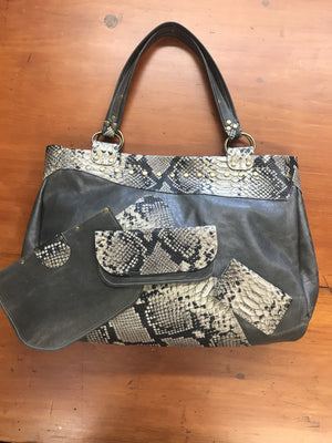 Gray w/ Snakeskin Leather Limited Edition Bag