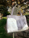 Gray Leather & Fur Hide w/ Fringe Limited Edition Bag