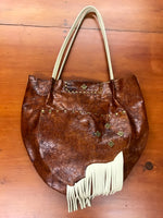 Mottled Shiny Brown w/ Fringe Leather Large Shoulder Bag