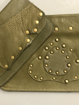 Army Green Leather w/ Raw Edges Medium Shoulder Bag