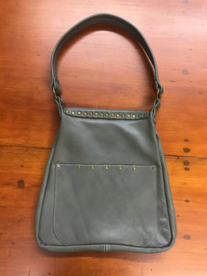 Gray Leather w/ Front Flap Small Shoulder Bag