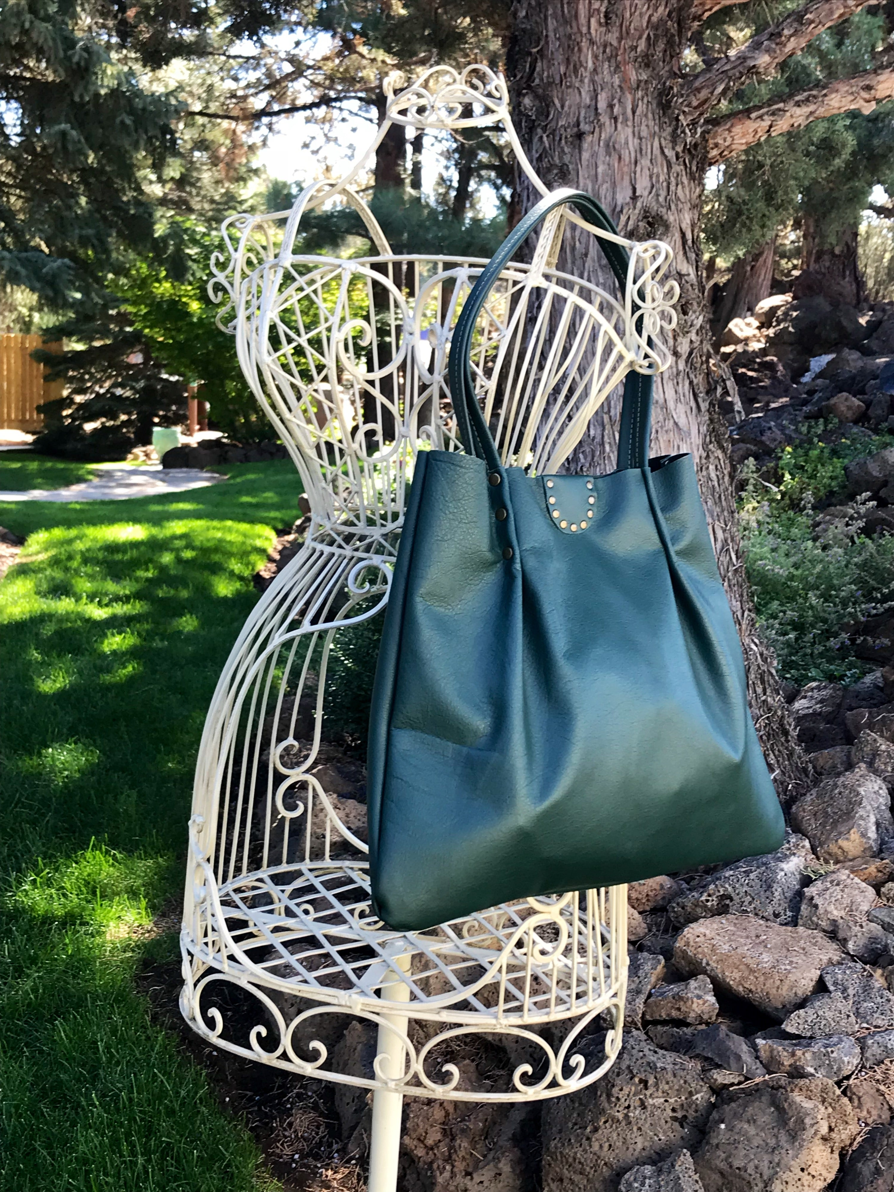Hunter Green w/ Raw Edges Small Shoulder Bag