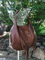 Brown Leather w/ Fringe & Raw Edges Limited Edition Bag