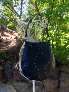 Black Leather w/ Rivet Front Small Shoulder Bag