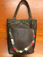 Brown Leather w/ Multi-Scallops Large Tote Bag