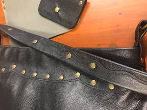 Black Leather w/ Scallop Edges Medium Shoulder Bag