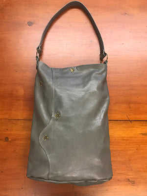 Gray Leather Narrow Large Shoulder Bag