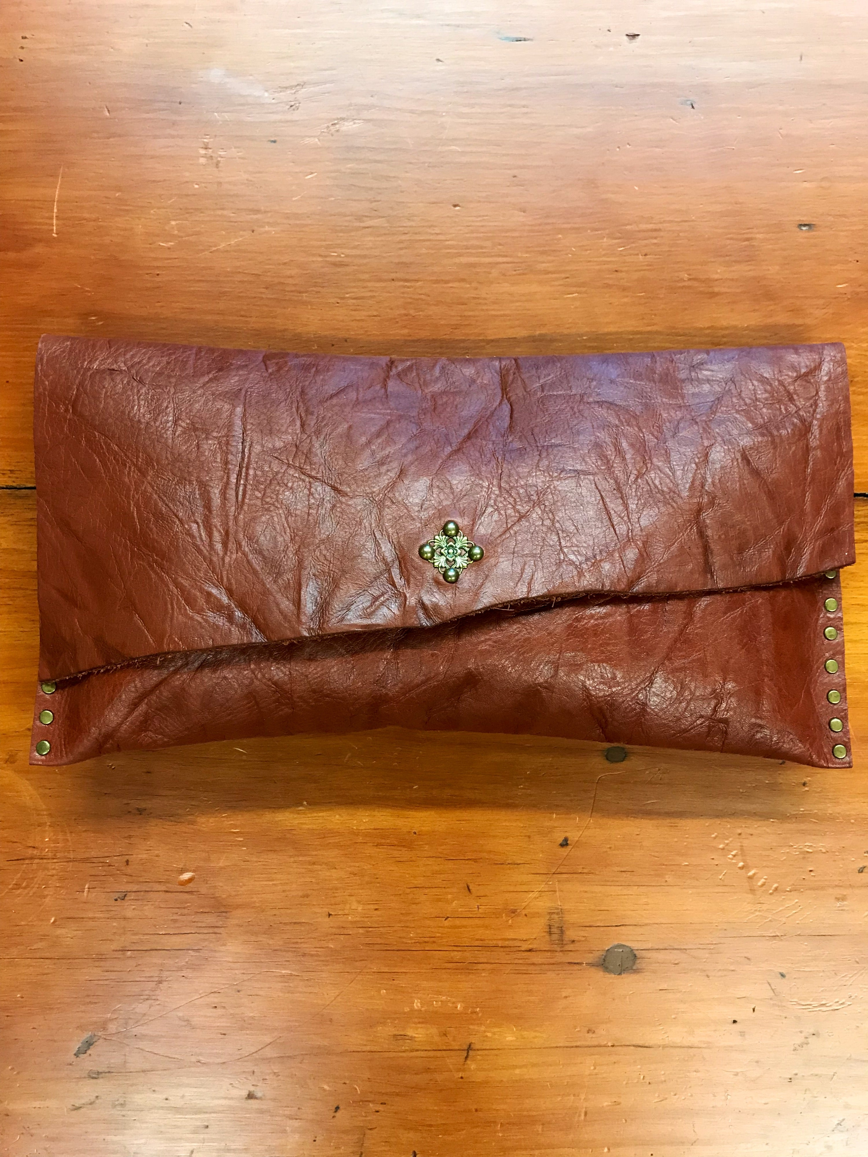 Embossed Brown Leather Clutch