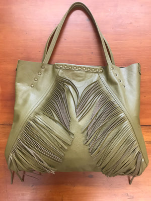 Moss Green Leather w/ Angled Fringe Large Shoulder Bag