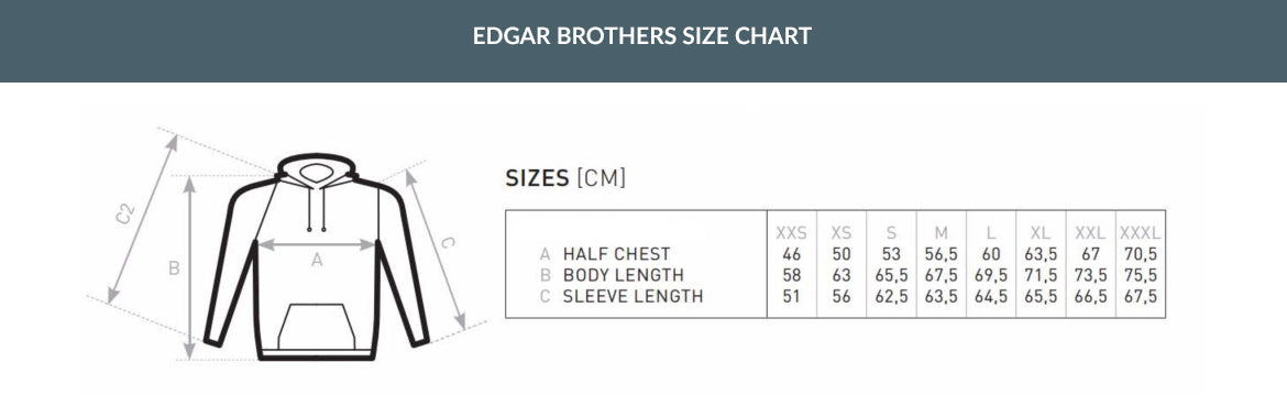 Edgar Brothers Hoodie Sizing Chart
