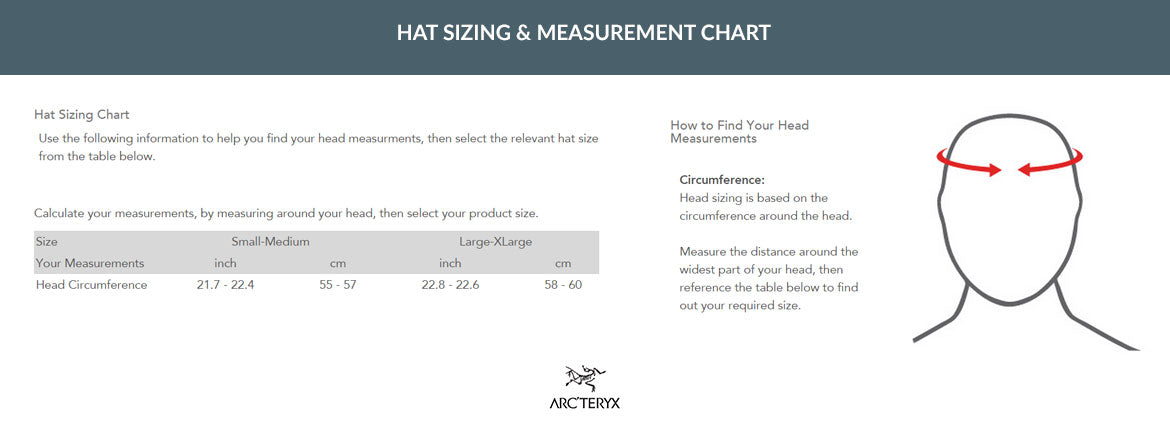 ARC'TERYX LEAF SIZING CHART HATS