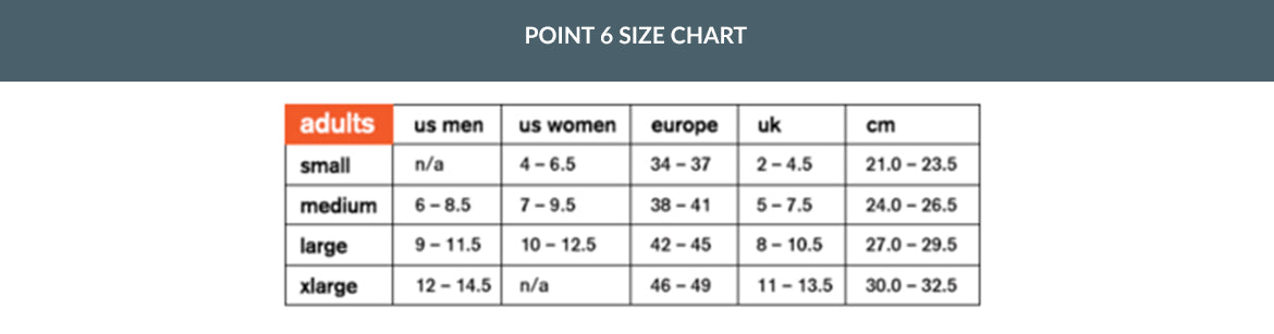 POINT 6 SIZING CHART