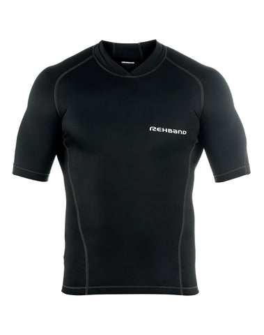 Rehband Men's Raw Compression Short Sleeve Top, Black T-Shirt (DISCONTINUED)