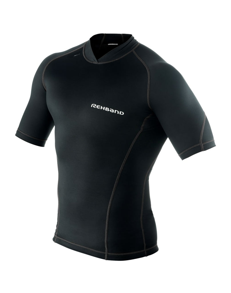 Rehband Men's Raw Compression Short Sleeve Top, Black T-Shirt