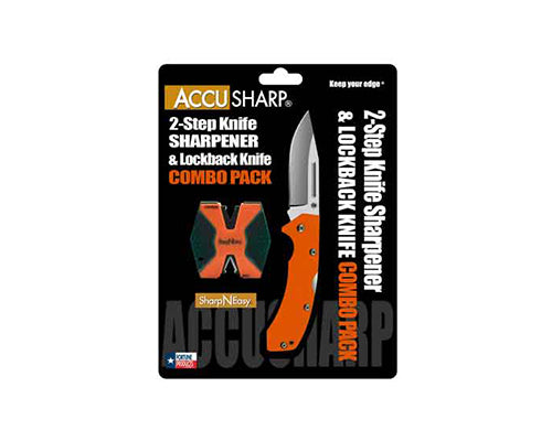 Accusharp SharpNEasy Two-Step &  G10 Knife Combo Orange