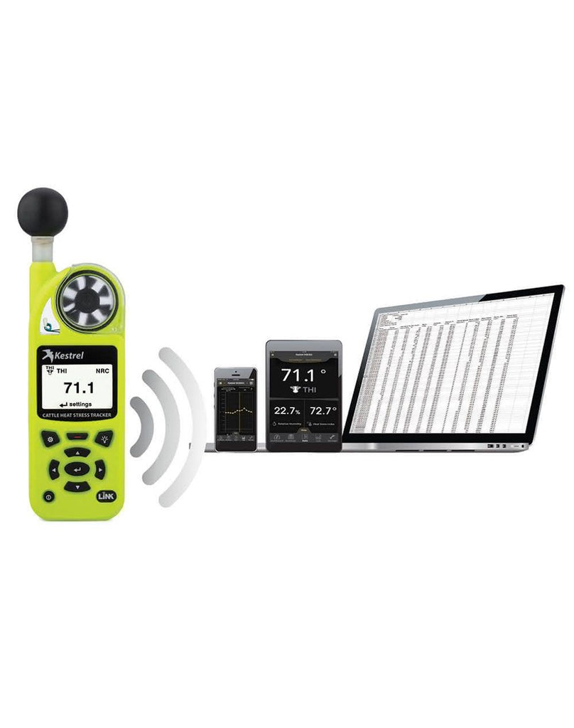 Kestrel 5400AG Cattle Heat Stress Tracker Pro with LiNK, Compass and Vane Mount HiViz Green