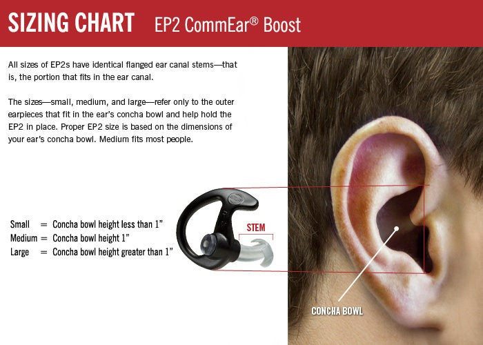 Surefire EP2 Earpieces CommEar® Boost Right Large (2) (DISCONTINUED)