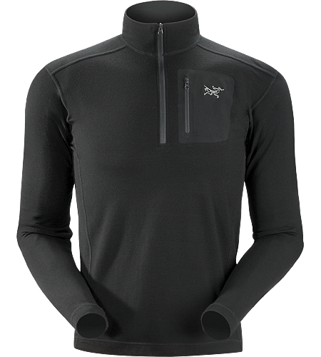 Arc'teryx LEAF RHO LTW Zip Neck Top - Black - X-Large