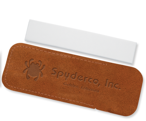 "Spyderco Suede Leather Cased Fine Grit Pocket Stone 1"" x 5"""