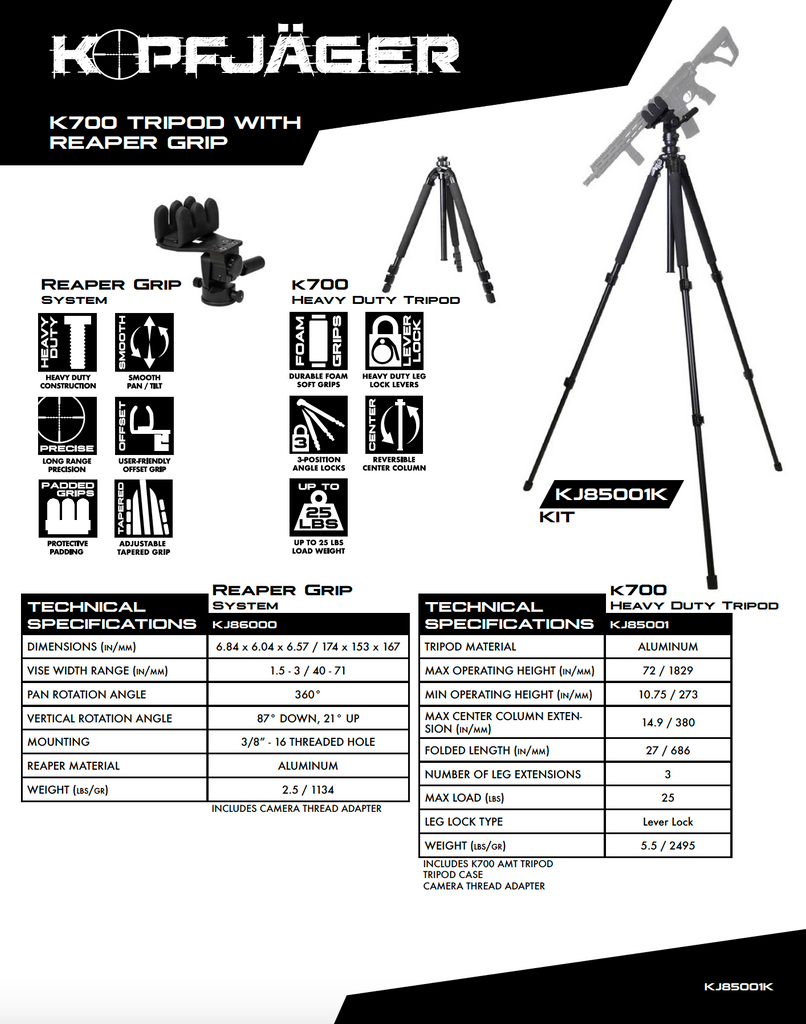 Kopfjager K700 AMT Tripod with Reaper Grip