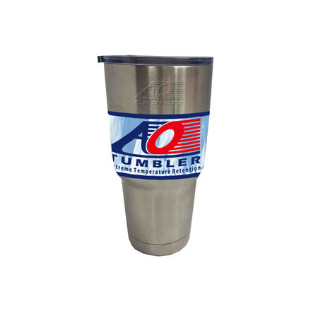 AO Coolers Silver, 30oz double wall stainless steel tumbler