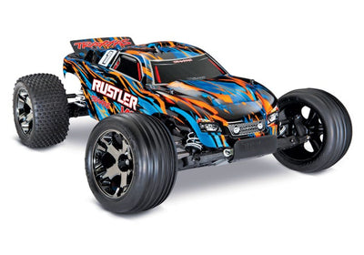 37076-4_ORNGX Rustler Stadium Truck VXL Orange Brushless