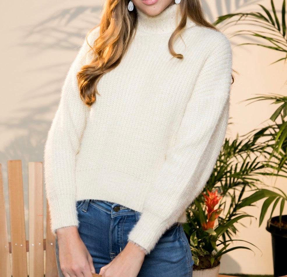 Just Darling Turtle Neck Sweater - Ivory - Radix Boutique