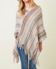 Load image into Gallery viewer, Emily Striped Fringe Poncho - Ivory Multi - Radix Boutique