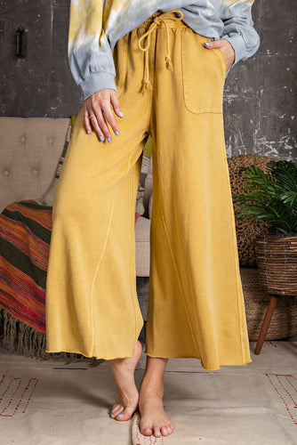 Lazy Days Wide Leg Cropped Pant - Mustard - Radix Boutique
