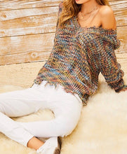 Load image into Gallery viewer, Confetti Frayed V Neck Sweater - Multi - Radix Boutique
