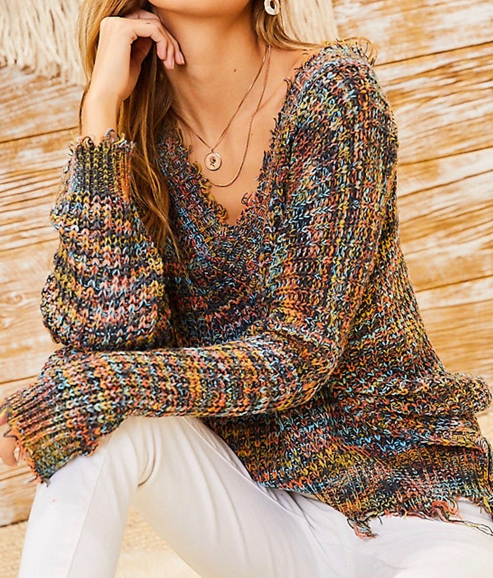 Confetti Frayed V Neck Sweater - Multi - Radix Boutique
