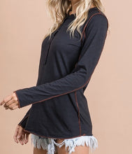 Load image into Gallery viewer, Sadie Snap Front Henley - Black - Radix Boutique