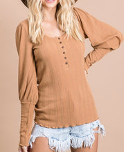 Load image into Gallery viewer, Penelope Pointelle Knit Henley - Camel - Radix Boutique
